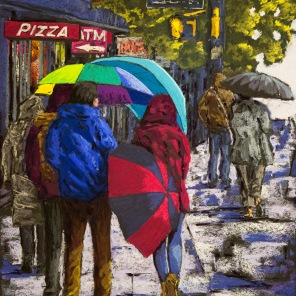 Figures in the Rain - 15x22 inches